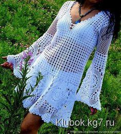 Maravilloso crochet túnica blanca. Trabajar Oksana Mashkova - (Negro) | Maraña