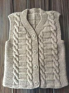 Free Baby Sweater Knitting Patterns, Knit Vest Pattern, Knitting Stiches, Knitting Designs, Free Knitting, Knitted Poncho, Crochet Cardigan, Knit Crochet, One Clothing