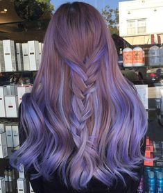 Long Lavender Balayage Hair