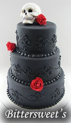 Gothic Wedding Cakes And Ideas For Gothic Cake Toppers Skull Wedding Cakes, Gothic Wedding Cake, Gothic Cake, Black Wedding Cakes, Wedding Black, Gothic Wedding Dresses, Sugar Skull Wedding, Vampire Wedding, Punk Wedding