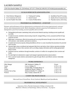 Resume Sample Of A Human Resources Administrator With Strong  Organizational, Customer Service, And Communication Skills.