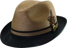 Stacy Adams Men's Two Tone Hat - Two Color Braid Band with Feather Accent - Clothing Connection Online