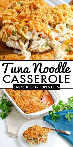Tuna Noodle Casserole is a comfort food casserole that is creamy, delicious, and easy to make. It's topped with buttery breadcrumb and shredded cheese. For more easy dinner recipes follow Easy Budget Recipes! Easy Holiday Recipes, Easy Dinner Recipes, Appetizer Recipes, Dessert Recipes, Tuna Noodle Casserole Recipe, Casserole Recipes, Dinner On A Budget, Budget Meals, Meal Planning