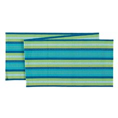 Ribbed Blue Green Table Runner
