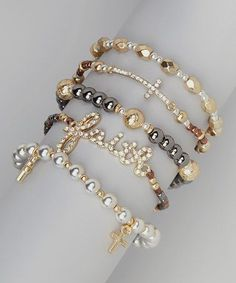 Another great find on Gold & White Cross Stackable Stretch Bracelet Set by Mica I Love Jewelry, Diy Jewelry, Beaded Jewelry, Jewelry Bracelets, Handmade Jewelry, Jewelry Design, Jewelry Making, Jewellery, Strand Bracelet