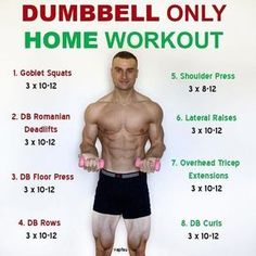 This is a full body workout that only utilises dumbbells. Depending on the weight of the dumbbells that you have access to, you may need to do higher reps in order for the exercises to be challenging. This is just one example and you could always incorpor Home Workout Men, Workout Plan For Men, At Home Workouts, Men Exercise, Workout Routines, Men's Workout Plans, Gym Workouts Women, Man Full Body, Full Body Dumbbell Workout