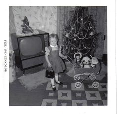 A living room at Christmas in the 60's.