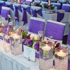 Purple Wedding Tables And Chairs Deep Purple Wedding, Purple Wedding Tables, Purple Wedding Decorations, Purple Wedding Invitations, Wedding Set Up, Sister Wedding, Wedding Themes, Wedding Reception, Dream Wedding