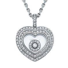 Pendentif Coeur Or Blanc Pavage Diamants et Diamant Mobile Chopard