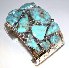 Native American Navajo Sterling Silver Natural Dry Creek Turquoise Bracelet