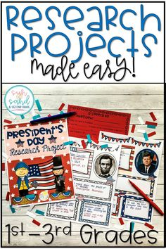 This presidents day research project is perfect for primary grades! These guided research activities are great for your younger students. They'll use their research to create a poster about their president and write a presidential speech from their point of view.