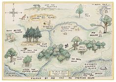 Map of the 100 Acre Wood, world of Christopher Robin and Winnie the Pooh, drawn by series illustrator Earnest Shepard.  (Author A.A. Milne.)