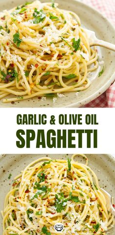 easy dinner This fragrant spaghetti with garlic and olive oil (Italian aglio e olio) is one of the classic Italian recipes: cheap, tasty, and ready in 10 minutes. Perfect for sharing with friends or when you want a quick and easy dinner! Easy Pasta Recipes, Spaghetti Recipes, New Recipes, Vegetarian Recipes, Cooking Recipes, Healthy Recipes, Easy Italian Recipes, Easy Pasta Dishes, Olive Pasta Recipes