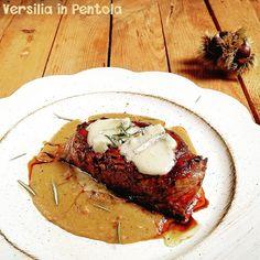 Filetto con Gorgonzola su Crema di Marocca