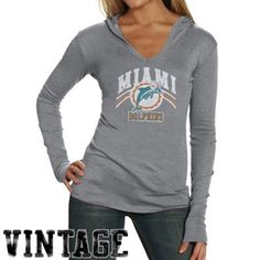 Junk Food Miami Dolphins Ladies Ash Vintage Hoodie T-shirt