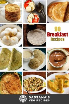 You will find 90 breakfast recipes that are easy, delicious and healthy. The breakfast recipes are from Indian cuisine as well as from the World cuisine. Healthy Vegetarian Breakfast, South Indian Breakfast Recipes, Tasty Vegetarian Recipes, Vegetarian Breakfast Recipes, Curry Recipes, Brunch Recipes, Brunch Foods, Rice Recipes, Indian Cuisine