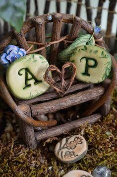 Miniature Fairy Garden Valentine Love Bench with 2 by garnetteh