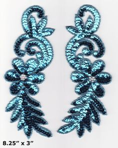 pair blue leaf bodice sequin bead appliques