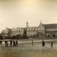 Pupils play a game of football on the South Field in 1890 #throwbackthursday #tbtphoto #tbt #surrey #cranleigh #cranleighschool #heritagephoto #sepia #football #vintagephoto #henrywoodyer #cranleighvillage