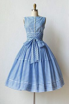 vintage 1950s blue striped dress the buttons the waist the bow--I'm in love!