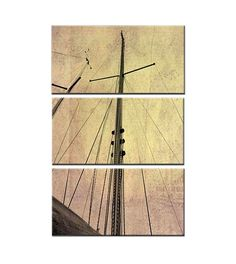 Sailin' - Large Canvas Art, Ship, Boat, Sail, Wind, Water, Triptych, 3 Panel, Office, Home, Family, Decor, Nautical