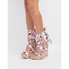 Chase + Chloe Floral Lace-Up Wedge Sandals
