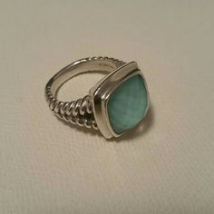 "Turquoise Gem Colore SG 925 Sterling Silver Ring 925 Sterling Silver cable split-shank ring with a turquoise & white quartz stone. Similar to David Yurman, From the Colore SG ""Colore Fusion""  Lorenzo Collection. Beautiful milky turquoise, its striking and stunning. Size 7 Colore SG Jewelry Rings"