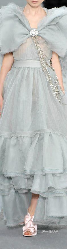 Chanel ~ Grey Sheer Dress w Ruffle Hem Details
