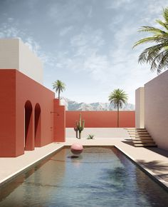 EXTERIOR TREND 2020 this stunning color block design lights op the garden, i would love to take a swim in this pool. Colour Architecture, Interior Architecture, Interior Design, Pool Houses, Belle Photo, Beautiful Places, Lounge, Exterior, Mansions