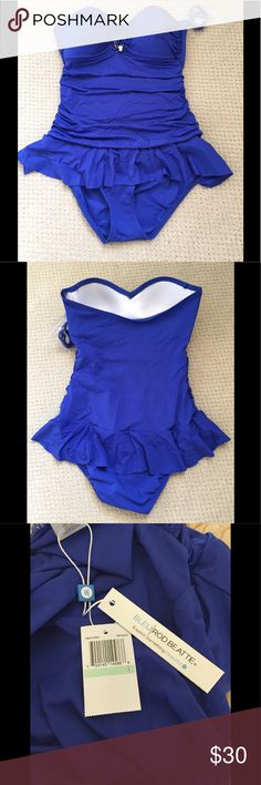 Women's swimsuit NWT   Cobalt blue one piece swimsuit. Beautiful suit, very flattering on. Tags & liner still attached. Bleu Rod Beattie Swim One Pieces