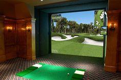 Man Cave - Full Swing Golf Simulator - traditional - home theater - san diego Indoor Golf Simulator, Home Golf Simulator, Golf Mats, Golf Room, Golf Pride Grips, Golf Simulators, Golf Practice, Rancho Cucamonga, Man Room
