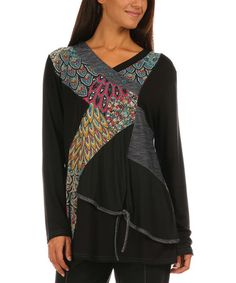 Look what I found on #zulily! Peacock Blue & Black Patchwork Surplice Tunic - Plus Too #zulilyfinds