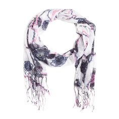 Liven up any solid sweater or blouse with this pretty, feminine lightweight scarf. Black and pink flowers on a white background with fringe. Get it now for $25.00