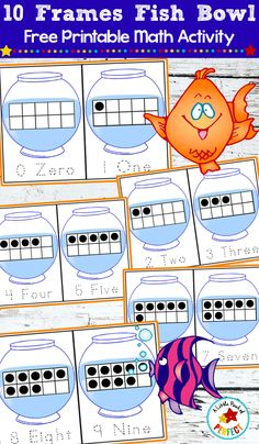 10 Frames Fish Bowl Math - Free Printable Counting Cards: Kids learn number recognition, counting, and subitizing while having fun with fish in a fish bowl. Use with mini erasers, goldfish crackers, or other hands on manipulatives. Free Preschool, Free Math, Math Resources, Preschool Activities, Preschool Worksheets, Preschool Learning, Indoor Activities, Early Learning, Fun Learning