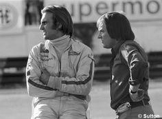 Carlos Reutemann y Bernie Ecclestone (jefe de Brabham). GP de Argentina 1972