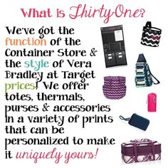 Check it out, visit www.myThirtyOne.com/38711 to see the whole catalog. Like it--place an order, love it--book a party. Want it ALL -- ask me how to join my team.