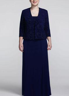 3/4 Sleeve Jacquard Beaded Jacket Dress - David's Bridal- mobile