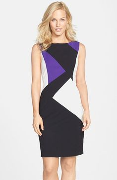 Free shipping and returns on Ellen Tracy Colorblock Sleeveless Sheath Dress at Nordstrom.com. Angular lines define the modern color blocking of this sleek bi-stretch sheath dress finished with a flashy exposed back zipper.