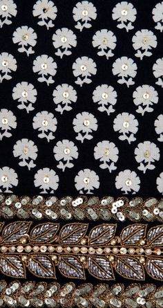 Beaded, sequinned leaves and flowers (black, white, gold) Indian Embroidery, Embroidery Fashion, Hand Embroidery Designs, Beaded Embroidery, Embroidery Stitches, Embroidery Patterns, Embroidery Works, Motif Paisley, Lesage