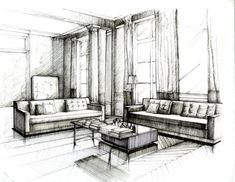 Pen and Ink Drawing #2 Practice by Wenyu Zhou. sketch, interior design, drawing, architecture