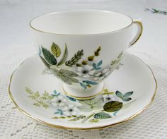 Vintage Queen Anne Tea Cup and Saucer with Flowers and Leaves, English Bone China
