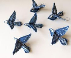 Tiny LOVE Birds Upcycle Recycle Repurposed by handworkstudioJeans Pants Blue Jeans are made up of small LOVE by handworkstudio Diy Upcycled Art, Upcycled Furniture, Furniture Ideas, Recycled Denim Crafts, Repurposed, Fabric Crafts, Sewing Crafts, Sewing Projects, Upcycling Projects