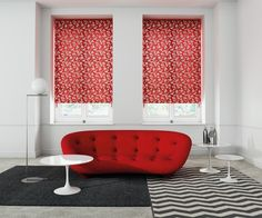 Satina Crimson Roller Blind #thefabricbox #windowcoveringsolutions #windowdressing #windowfashion # redblind #leafdesign