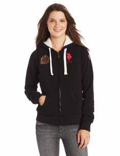 U.S. Polo Assn. Women's Fleece Jacket with Sherpa Lining and Hood