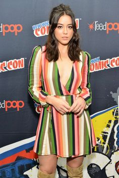 """Chloe Bennet at the """"Marvel's Agents of S.D"""" panel during 2017 New York Comic Con October, Chloe Bennett, Daisy, Black And White Tops, Cultura Pop, Celebs, Celebrities, Fashion Models, Celebrity Crush, Beautiful Women"""