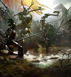 Fantasy Art Tomasz Jedruszek Battle at Ruby Ford