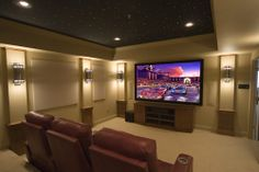 I like the fiber optic, starry tray ceiling in this. Notice the acoustic panels with beveled edges like I mentioned on Tuesday.