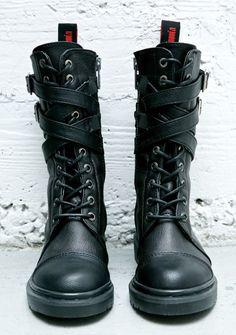 RIVAL STRAPPY COMBAT BOOTS dollskill.com black boots