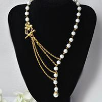 How to Make a Simple Tibetan Style Pearl Stranded Necklace with Multiple Gold Chains Linked - Pandahall.com