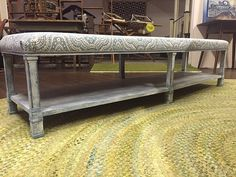 Unique piece that could be used as an ottoman, bench, or coffee table. 6 feet long!! Storage on the bottom, padded & upholstered on top. By Originally Worn